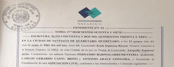 Acta Constitutiva de AMEVASC