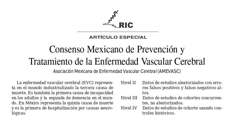 Consenso Mexicano de Prevención y Tratamiento de la Enfermedad Vascular Cerebral