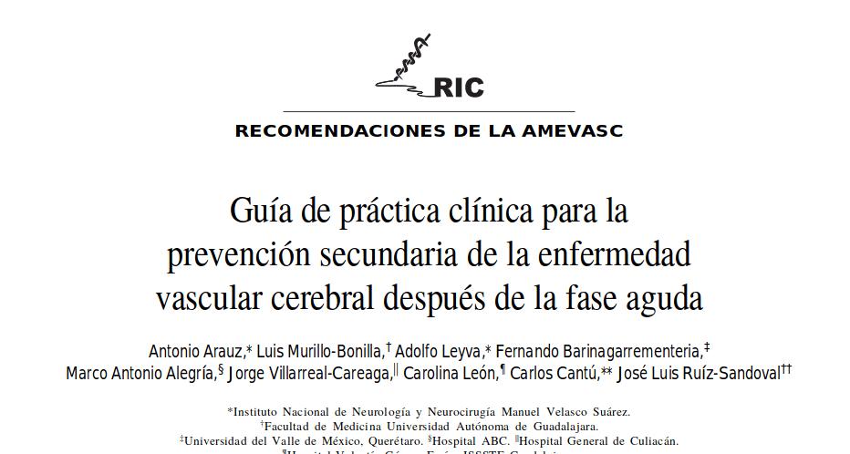 Guía de Práctica Clínica para la Prevención Secundaria de la Enfermedad Vascular Cerebral Después de la Fase Aguda